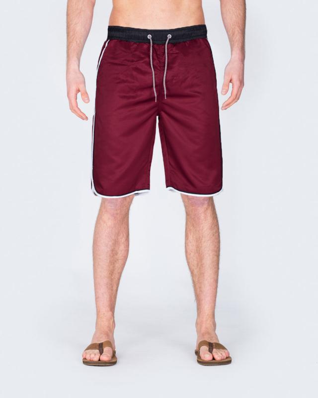 2t Tall Striped Swim Shorts (burgundy)