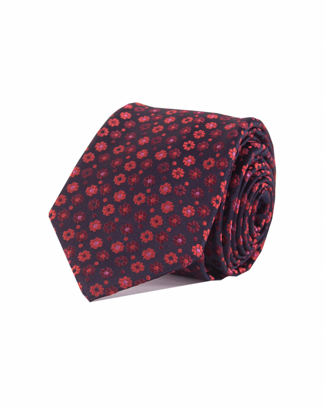 Double Two Extra Long Floral Tie (red)