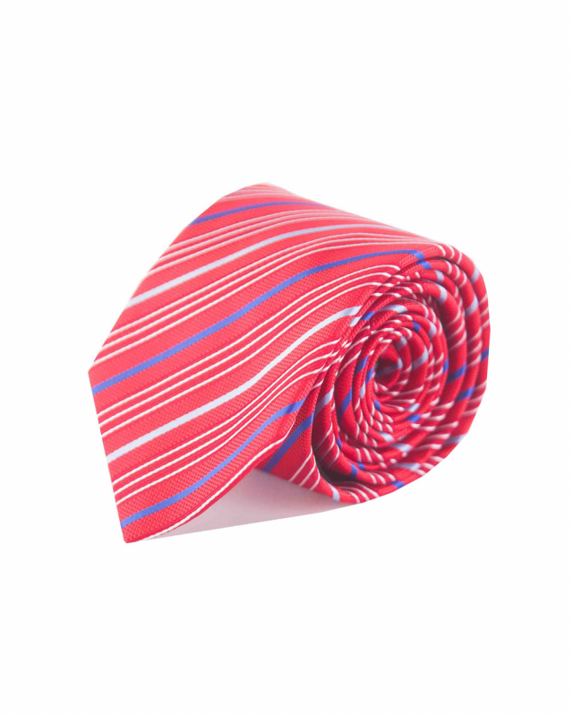 Double Two Extra Long Striped Tie (red/blue)