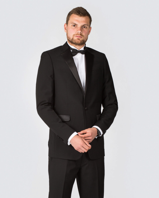 Skopes Regular Fit Wool Tall Dinner Suit (black)