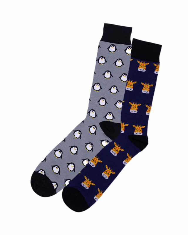 2t Patterned Socks 2 Pairs (animals)