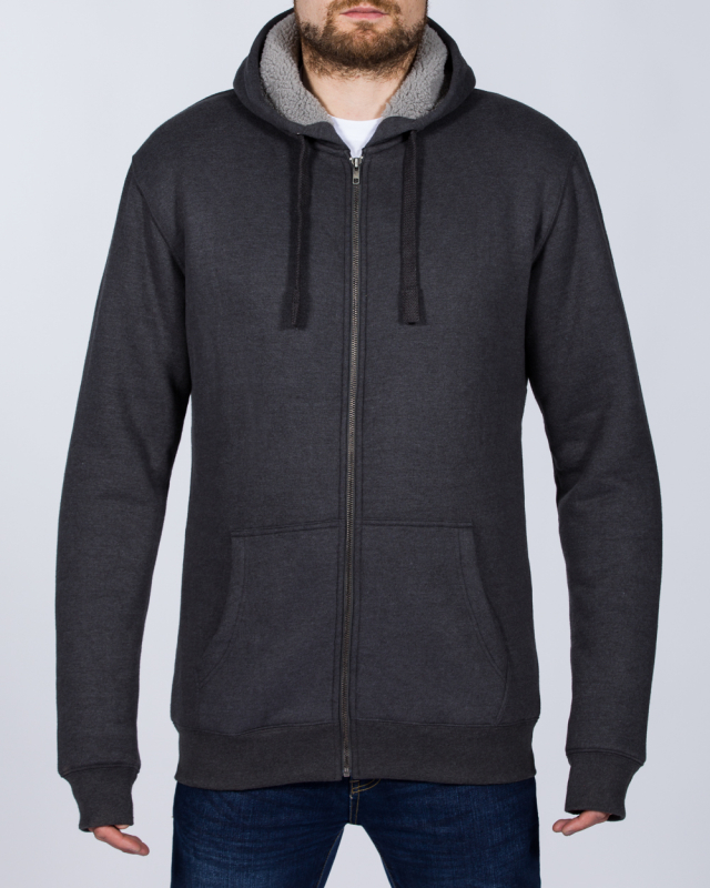 2t Zip Up Tall Sherpa Hoodie (charcoal)