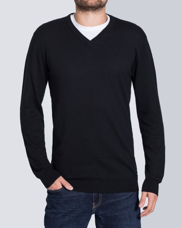 2t V-Neck Tall Wool Jumper (black)