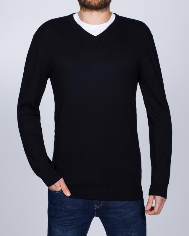 2t Merino V-Neck Tall Jumper (black)