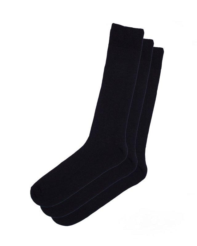 HJ Hall Cotton Plain Socks 3 Pairs (black)