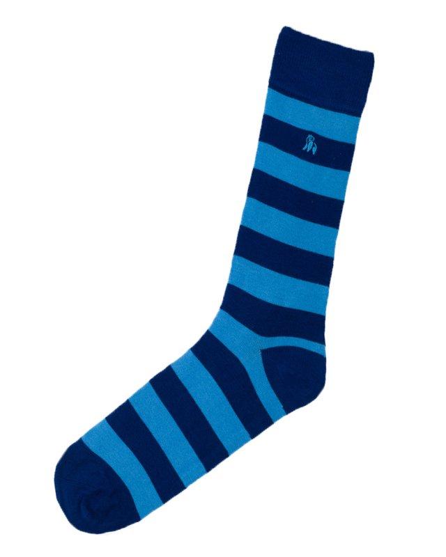 Swole Panda Bamboo Socks 1 Pair (sky blue striped)