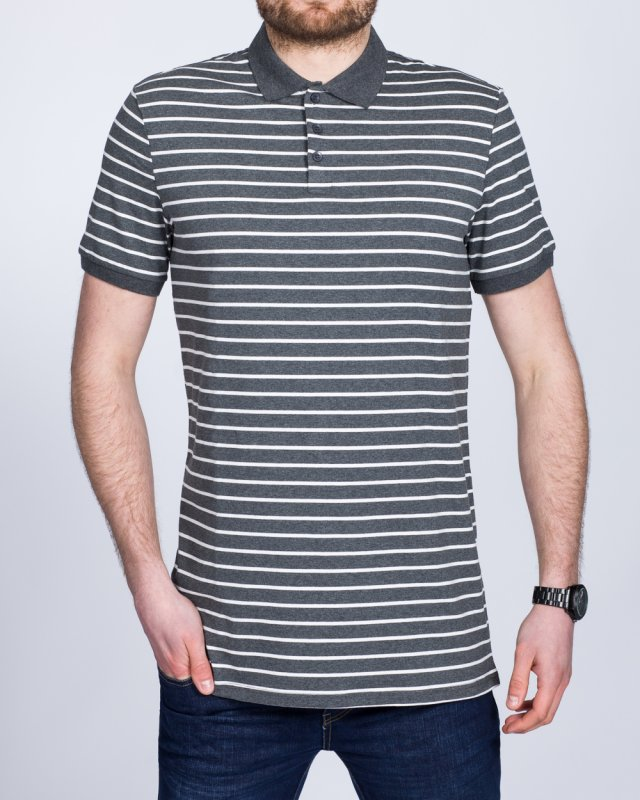 2t Slim Fit Tall Striped Polo Shirt (charcoal)