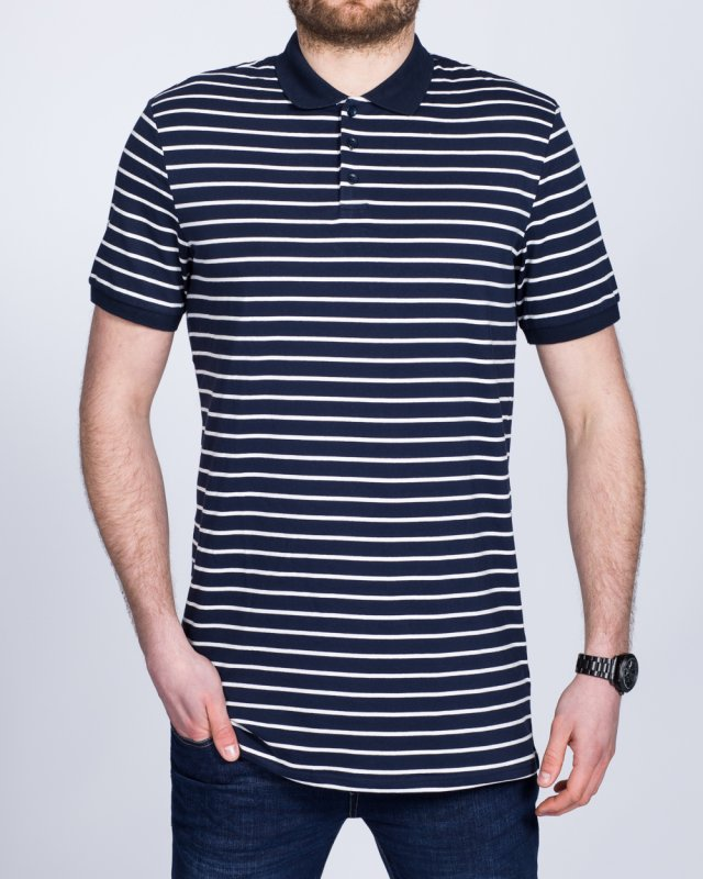 2t Slim Fit Tall Striped Polo Shirt (navy)
