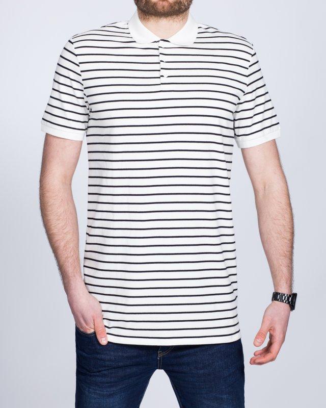 2t Slim Fit Tall Striped Polo Shirt (white)