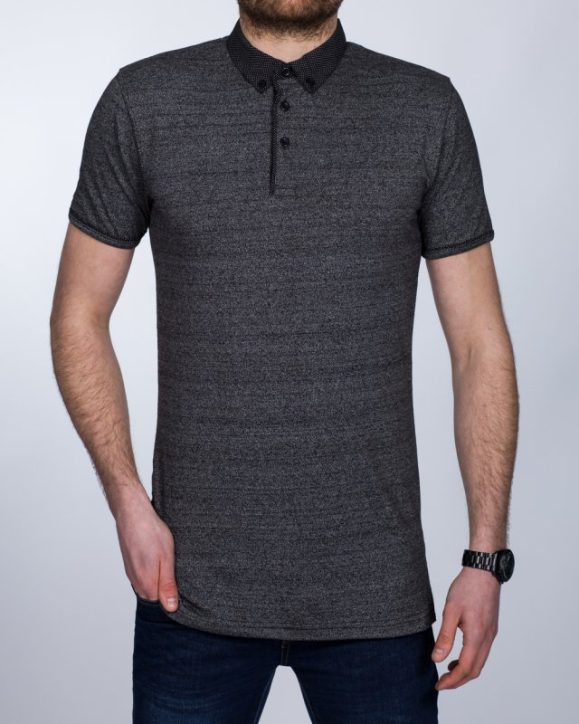 2t Slim Fit Tall Polo Shirt (black marl)