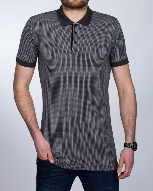 2t Slim Fit Patterned Tall Polo Shirt (charcoal)