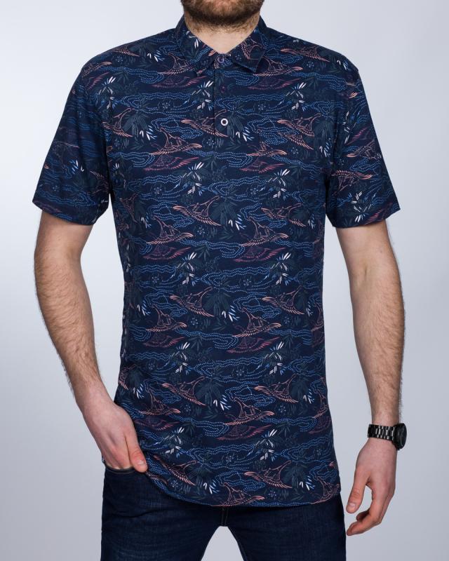 2t Slim Fit Tall Polo Shirt (navy print)