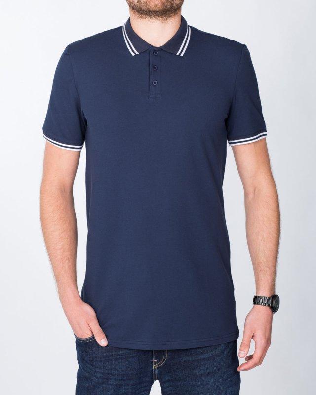 2t Slim Tall Tipped Polo Shirt (navy)