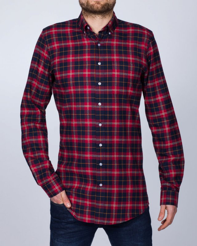 2t Slim Fit Long Sleeve Tall Checked Shirt (red check)