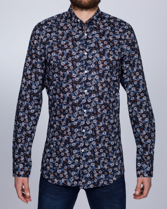 2t Slim Fit Long Sleeve Tall Floral Shirt (navy)