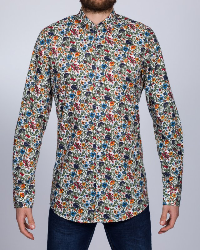 2t Slim Fit Long Sleeve Tall Floral Shirt (white)