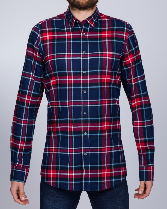 2t Slim Fit Long Sleeve Tall Checked Shirt (navy/red)