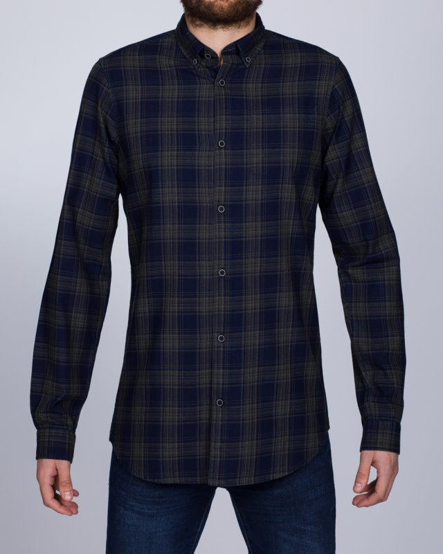 2t Slim Fit Long Sleeve Tall Checked Shirt (navy/olive)
