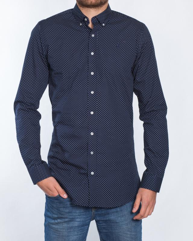 2t Slim Fit Long Sleeve Tall Shirt (navy dot)