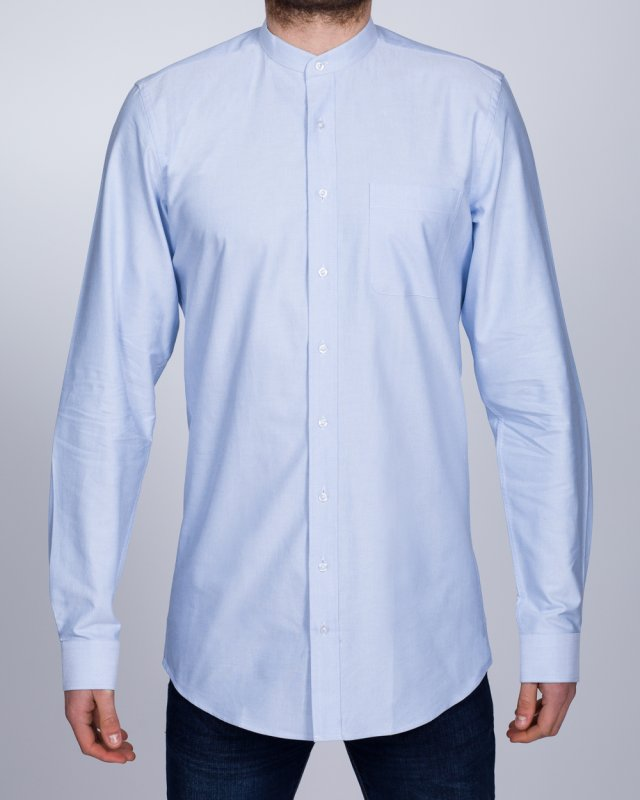 2t Grandad Oxford Slim Fit Long Sleeve Tall Shirt (sky)