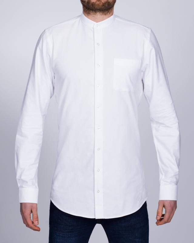 2t Grandad Oxford Slim Fit Long Sleeve Tall Shirt (white)