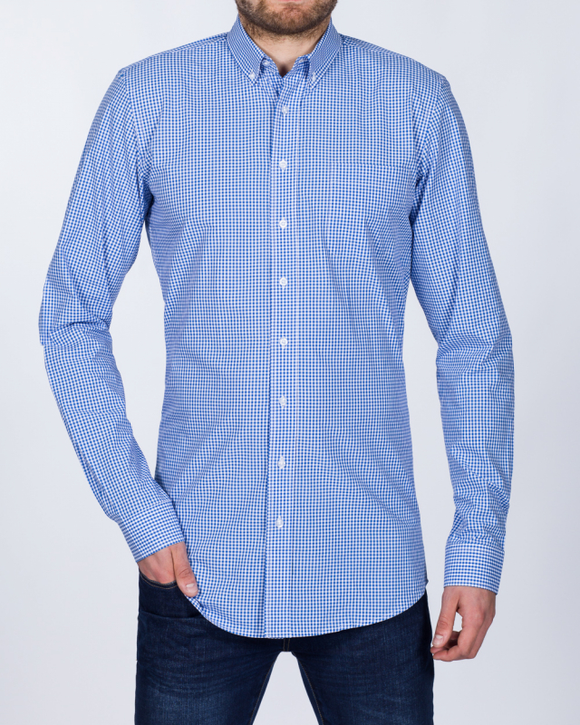 2t Slim Fit Long Sleeve Tall Checked Shirt (blue check)