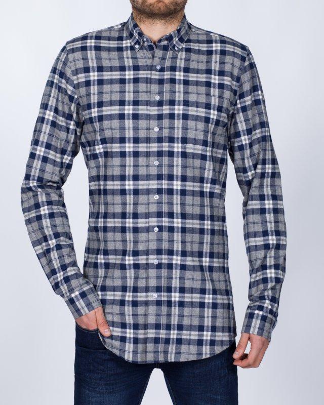 2t Slim Fit Long Sleeve Tall Shirt (grey/navy)