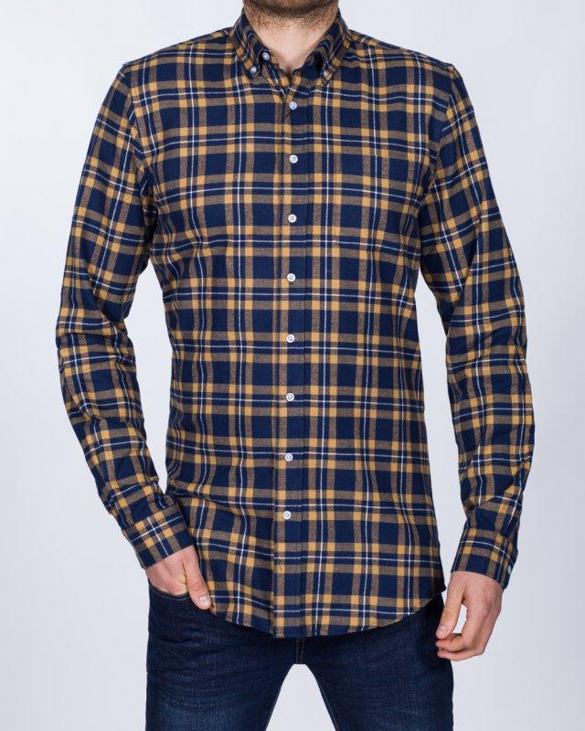 2t Slim Fit Long Sleeve Tall Shirt (mustard check)