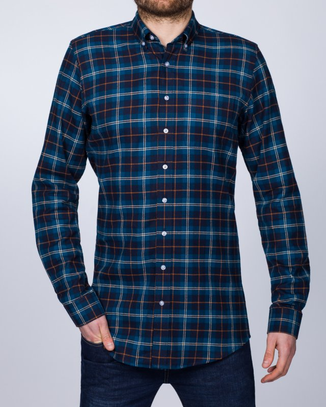 2t Slim Fit Long Sleeve Tall Checked Shirt (blue/navy)