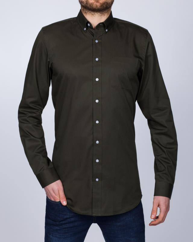 2t Slim Fit Long Sleeve Tall Shirt (dark green)