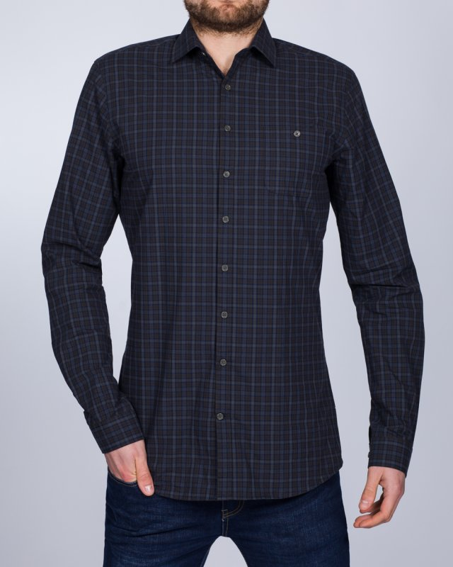 2t Slim Fit Long Sleeve Tall Checked Shirt (olive/navy)