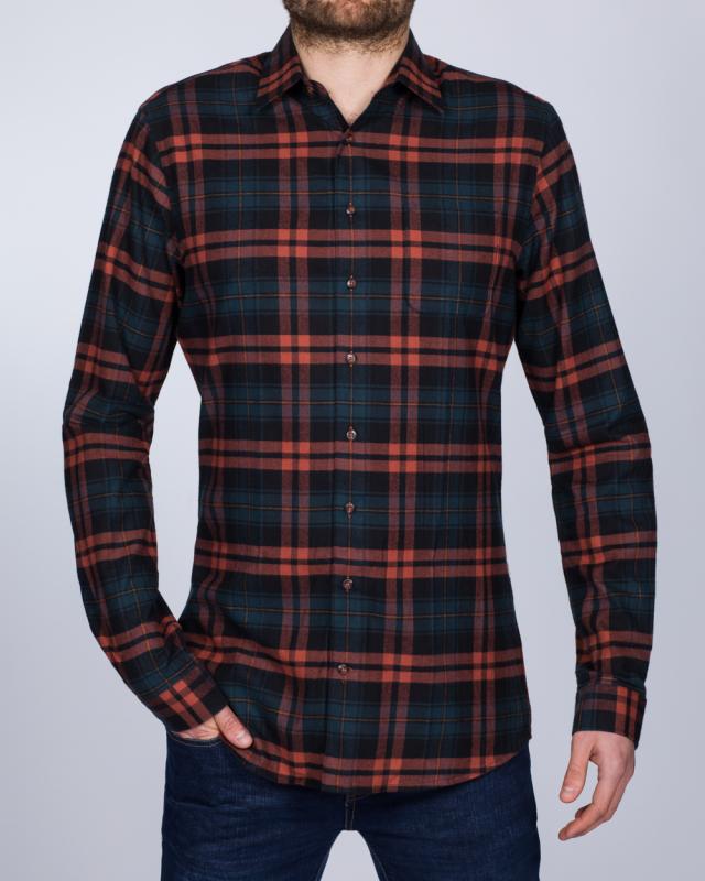 2t Slim Fit Long Sleeve Tall Checked Shirt (navy/orange)