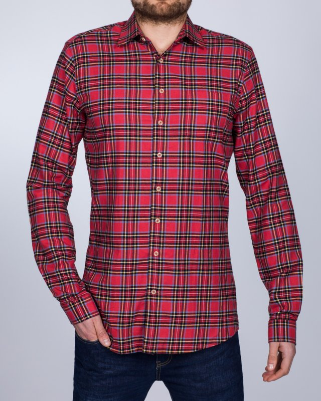 2t Slim Fit Long Sleeve Tall Checked Shirt (red/black)