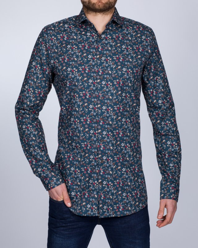 2t Slim Fit Long Sleeve Tall Floral Shirt (teal)