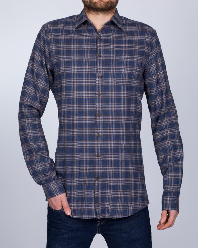 2t Slim Fit Long Sleeve Tall Checked Shirt (denim/brown)