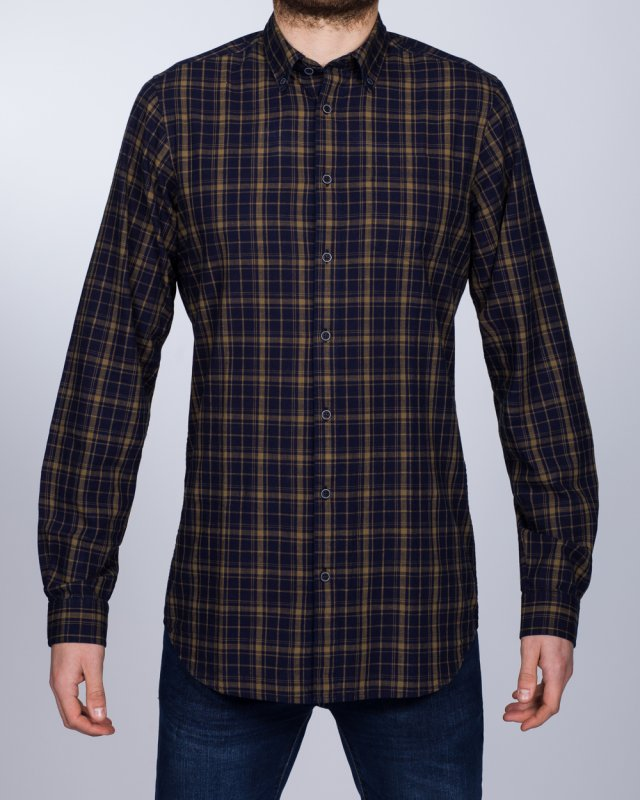 2t Slim Fit Long Sleeve Tall Checked Shirt (gold/navy)