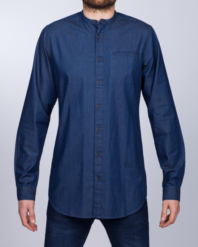 2t Slim Fit Long Sleeve Tall Grandad Shirt (indigo)