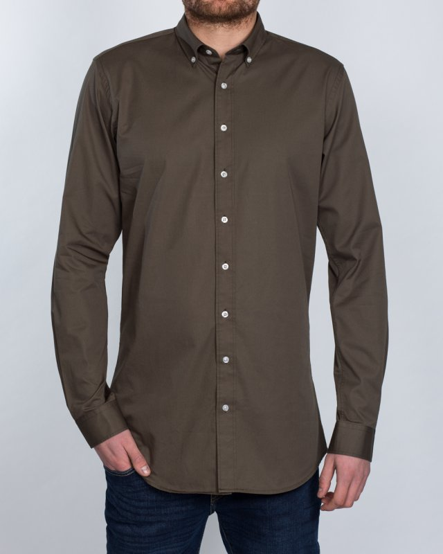 2t Slim Fit Long Sleeve Tall Shirt (olive)