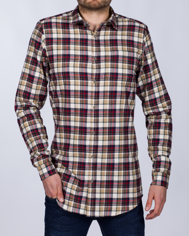 2t Slim Fit Long Sleeve Tall Checked Shirt (camel)