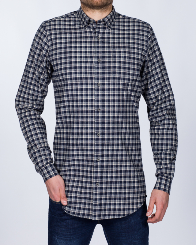 2t Slim Fit Long Sleeve Tall Checked Shirt (navy/beige)
