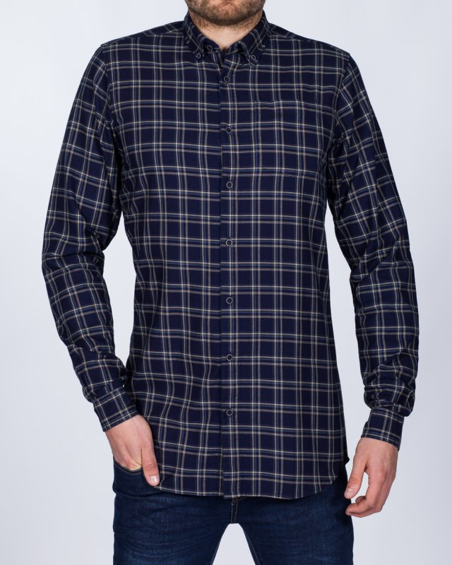 2t Slim Fit Long Sleeve Tall Checked Shirt (navy)