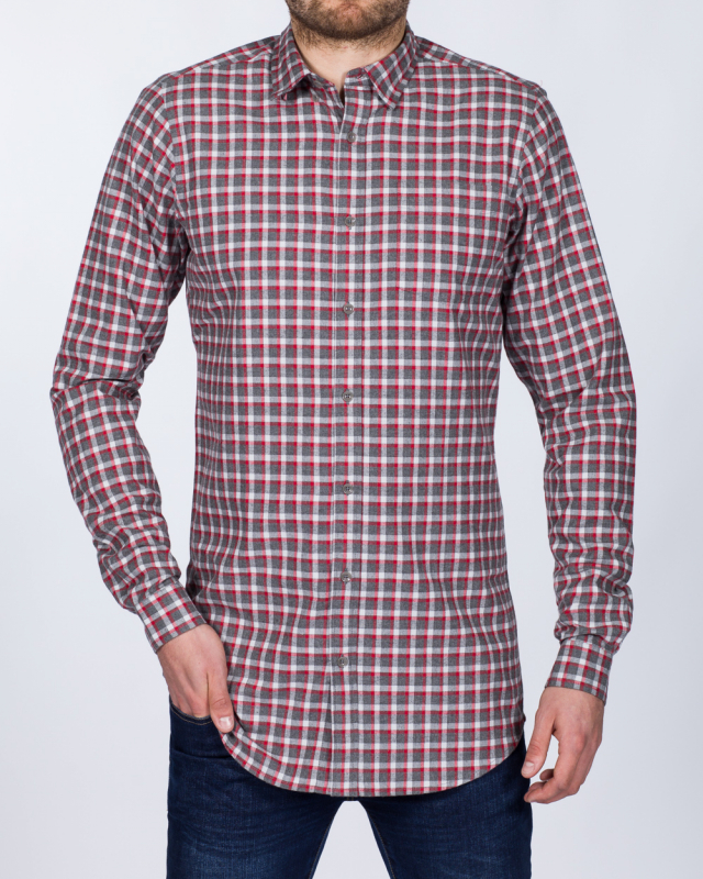 2t Slim Fit Long Sleeve Tall Checked Shirt (grey/red)