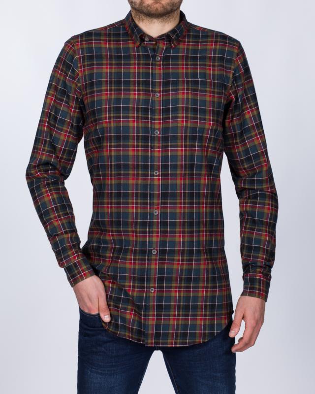 2t Slim Fit Long Sleeve Tall Checked Shirt (multi)