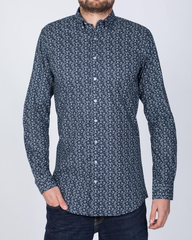 2t Slim Fit Long Sleeve Paisley Shirt (navy)