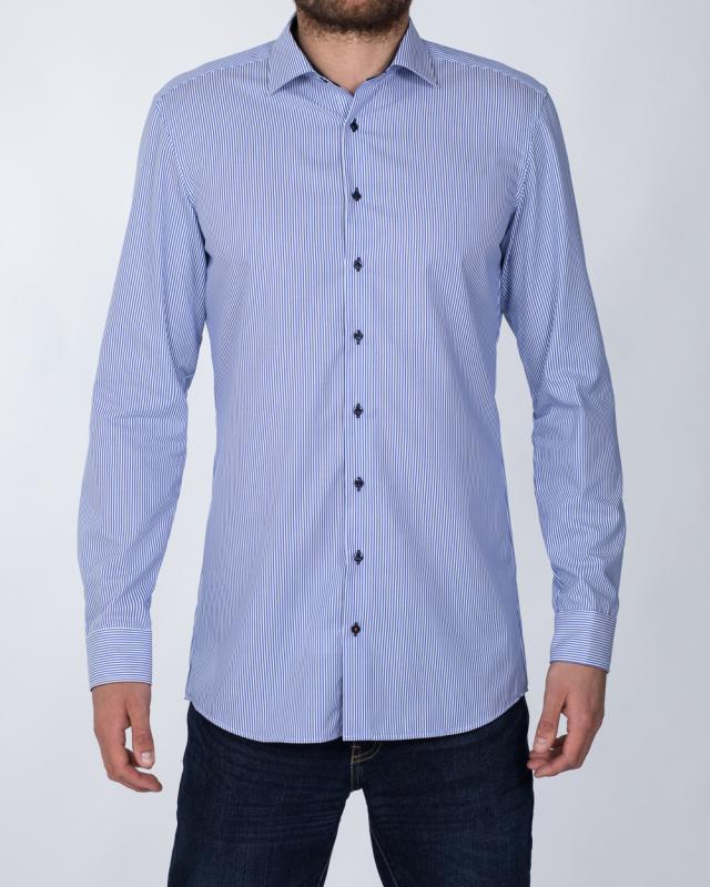 Eterna Slim Fit Tall Shirt (blue stripe/dotted collar)