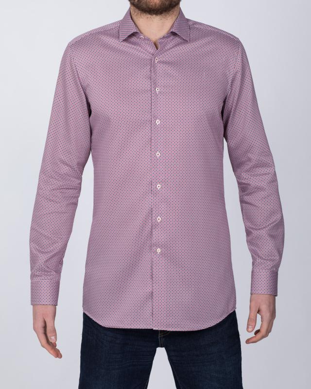 Eterna Slim Fit Tall Shirt (red/blue)