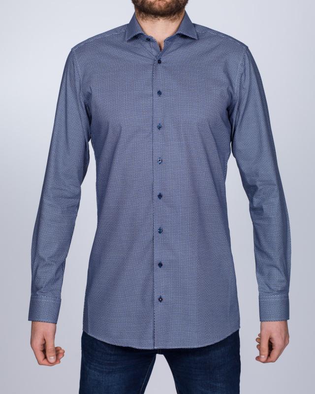 Eterna Slim Fit Tall Shirt (dark blue pattern)