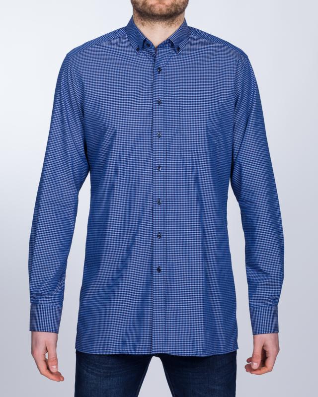 Eterna Modern Fit Tall Shirt (navy/blue gingham)