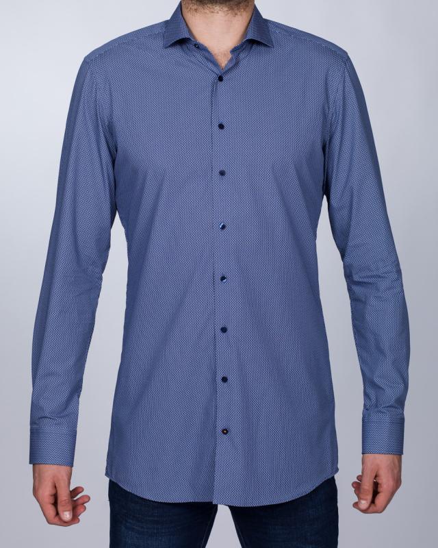 Eterna Slim Fit Tall Shirt (navy blue pattern)