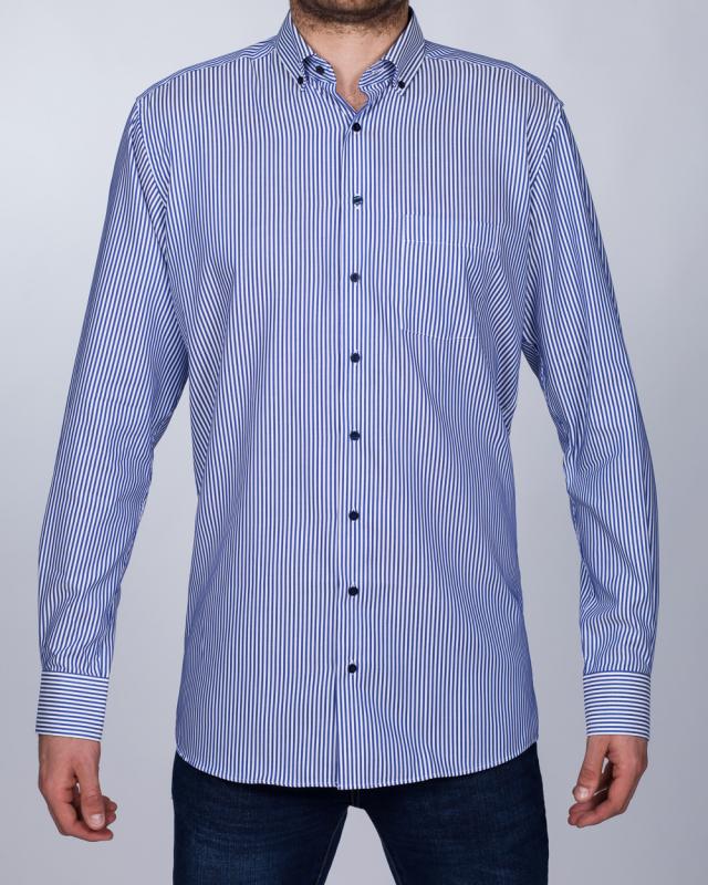 Eterna Modern Fit Tall Shirt (blue stripe/navy collar)